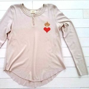 ALL THINGS FABULOUS Henley Thermal Top Crown Heart